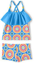 Classic Little Girls Boy Shorts Ruffle Tankini Swimsuit Set-Pineapple Stripe