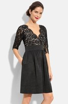 Eliza J Petite Women's Lace & Faille Dress