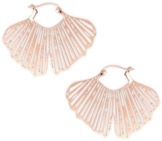 ginette_ny Gingko 18K Rose Gold Cut-Out Hoop Earrings