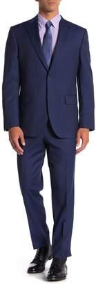 David Donahue Ryan Navy Stripe Two Button Notch Lapel Classic Fit Wool Suit