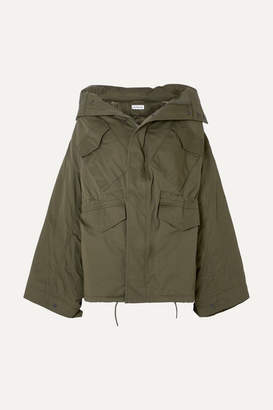 Balenciaga Swing Oversized Hooded Cotton-twill Jacket - Army green