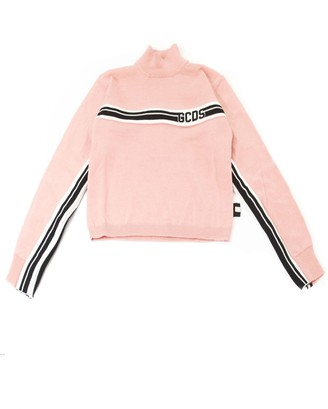 GCDS Pink Wool Blend Cropped Sweaters