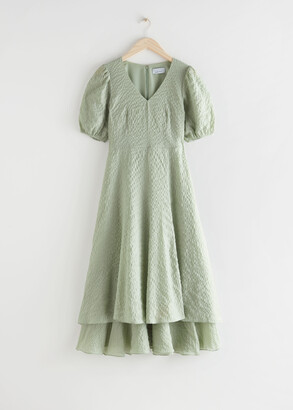 And other stories Puff Sleeve Double Layer Midi Dress