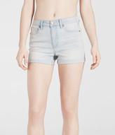 High-Waisted Light Wash Cuffed Denim Midi Shorts