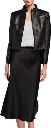 Akris Cropped Leather Zip-Front Jacket