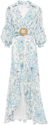 Badgley Mischka Asymmetric Embroidered Floral-print Georgette Dress