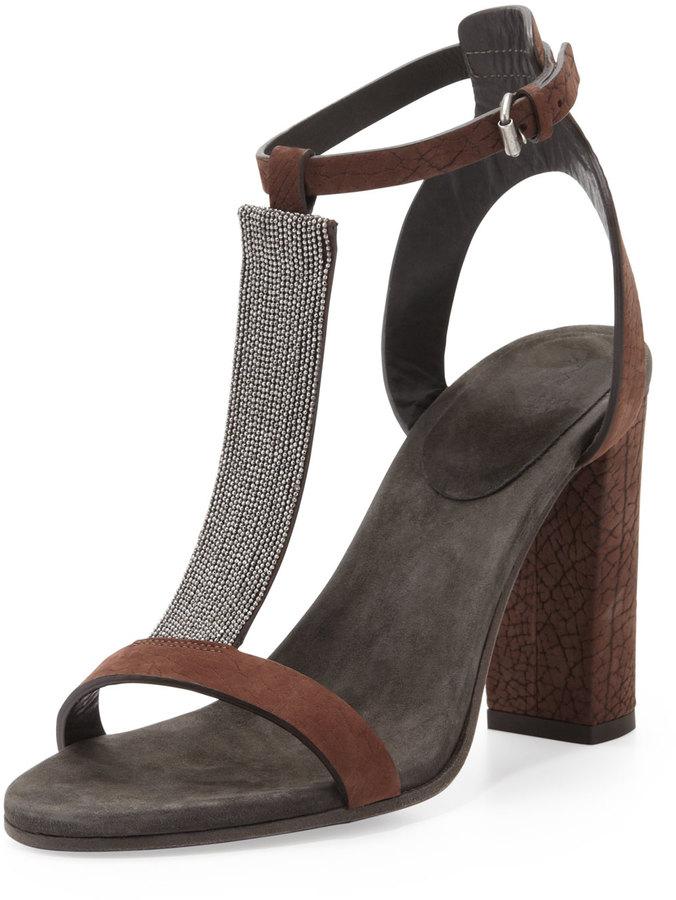 Brunello Cucinelli Chain T-Strap High-Heel Sandal, Dark Brown