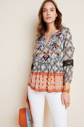 Anthropologie Terri Embroidered Top By in Assorted Size XS
