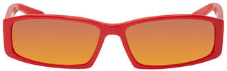 Balenciaga Red Rectangular Neo Sunglasses