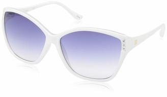 Laundry by Design Women's Ld264 Whxt Non-Polarized Iridium Round Sunglasses
