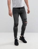 Criminal Damage Super Skinny Jeans With Distressing