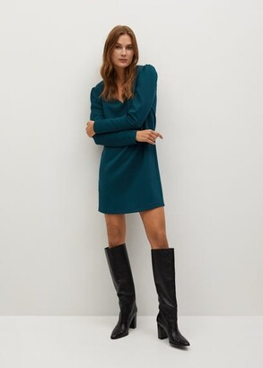 MANGO Straight V neck dress