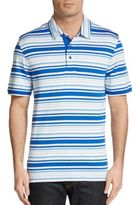 Saks Fifth Avenue BLACK Striped Pima Cotton Polo