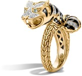 John Hardy Women's Legends Macan Bypass Ring in 18K Gold with Pave White Diamond (0.3ct)