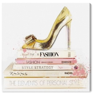 "Oliver Gal Gold Shoe and Blush Books Canvas Art - 16"" x 16"" x 1.5"""