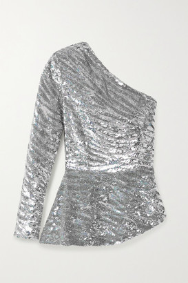 retrofete Norma One-sleeve Sequined Satin Blouse - Silver