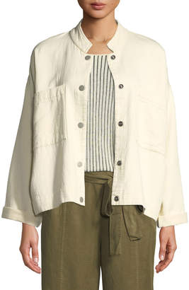 Eileen Fisher Petite Mandarin Collar Snap-Front Channel Jacket