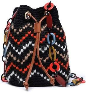 M Missoni Leather-trimmed Crochet-knit Cotton-blend Bucket Bag