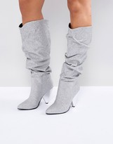 Missguided Shimmer Ruched Calf Boot