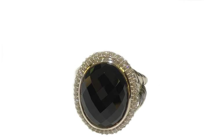 David Yurman 925 Sterling Silver Oval Collection Black Onyx & Diamond Ring Size 7