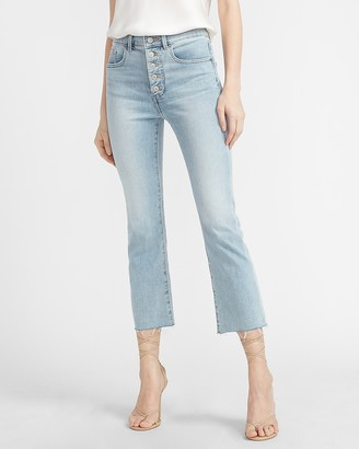 Express High Waisted Button Fly Raw Hem Cropped Flare Jeans