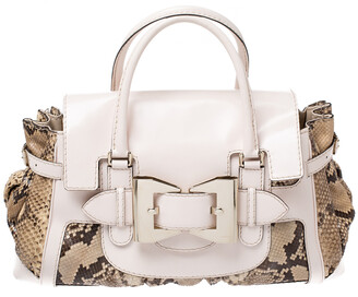 Gucci Beige/Brown Python and Leather Large Queen Satchel