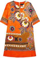 Etro Printed Silk-jacquard Dress - Orange