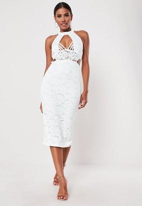 Missguided White Lace Halterneck Midi Dress