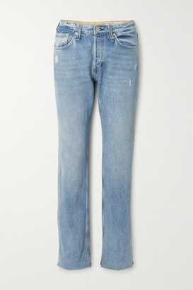 Rag & Bone Rosa Distressed Mid-rise Straight-leg Jeans - Mid denim