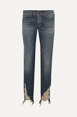 Saint Laurent Distressed Boyfriend Jeans - Blue