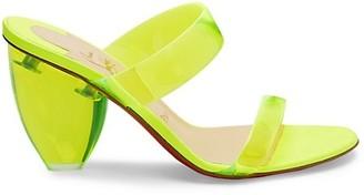 Christian Louboutin Ovida Neon Block-Heel PVC Mules
