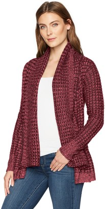 Allison Brittney Women's Double Nose Ndl Shawl Collar Open Front L/SLV Cardigan