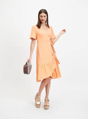 Miss Selfridge Melon Frill Wrap Midi Dress