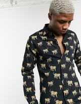 Devils Advocate leopard print slim fit cotton long sleeve shirt