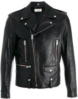 Saint Laurent cocktail print biker jacket - men - Cotton/Calf Leather/Polyester/Cupro - 46