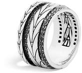 John Hardy Sterling Silver Modern Chain Band Ring with Black Sapphire
