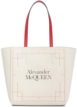 Alexander McQueen White Leather Signature Shopper Tote