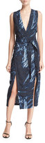 Halston Sleeveless Printed V-Neck Tunic Dress