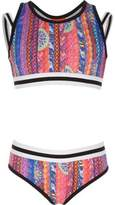 River Island Girls pink geo print bikini