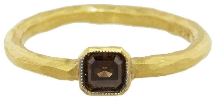 Cathy Waterman Solitaire Cognac Diamond Ring