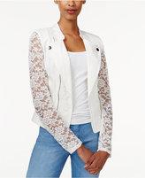 Material Girl Juniors' Lace Moto Jacket