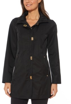 Jones New York Hooded Water-Resistant Raincoat