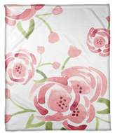 Designs Direct Watercolor Roses Throw Blanket in Pink/Green