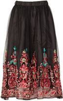 Izabel London Floral Embroidered Midi Skirt