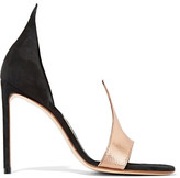 Francesco Russo D'orsay Suede And Snake Sandals - Gold