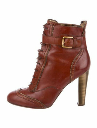 Dolce & Gabbana Leather Lace-Up Boots Brown
