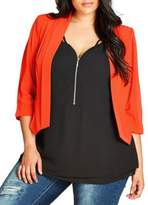 City Chic Open Front Cropped Blazer