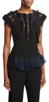 Rebecca Taylor Vien Lace Cap-Sleeve Top, Black/Navy