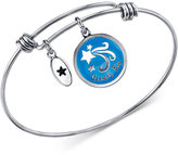 "Unwritten Dream Big"" Star Disc Bangle Bracelet in Stainless Steel with Silver-Plated Charms"