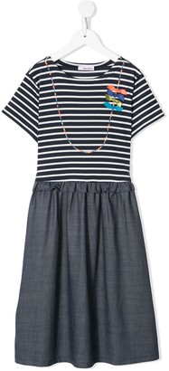 Familiar Striped Short-Sleeve Dress